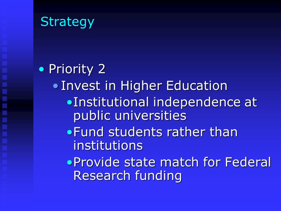 Strategy Priority 2Priority 2 Invest in Higher EducationInvest in Higher Education Institutional independence at public universitiesInstitutional inde