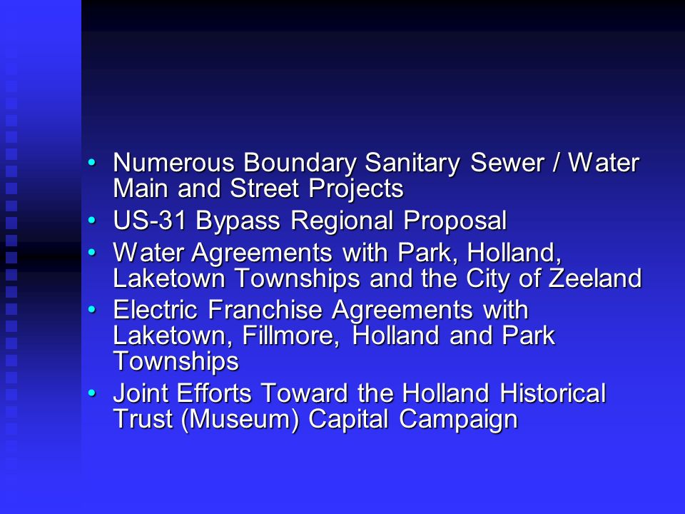 Numerous Boundary Sanitary Sewer / Water Main and Street ProjectsNumerous Boundary Sanitary Sewer / Water Main and Street Projects US-31 Bypass Region