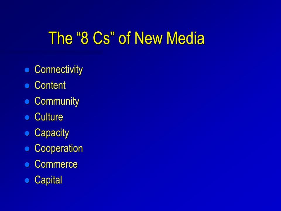The 8 Cs of New Media l Connectivity l Content l Community l Culture l Capacity l Cooperation l Commerce l Capital