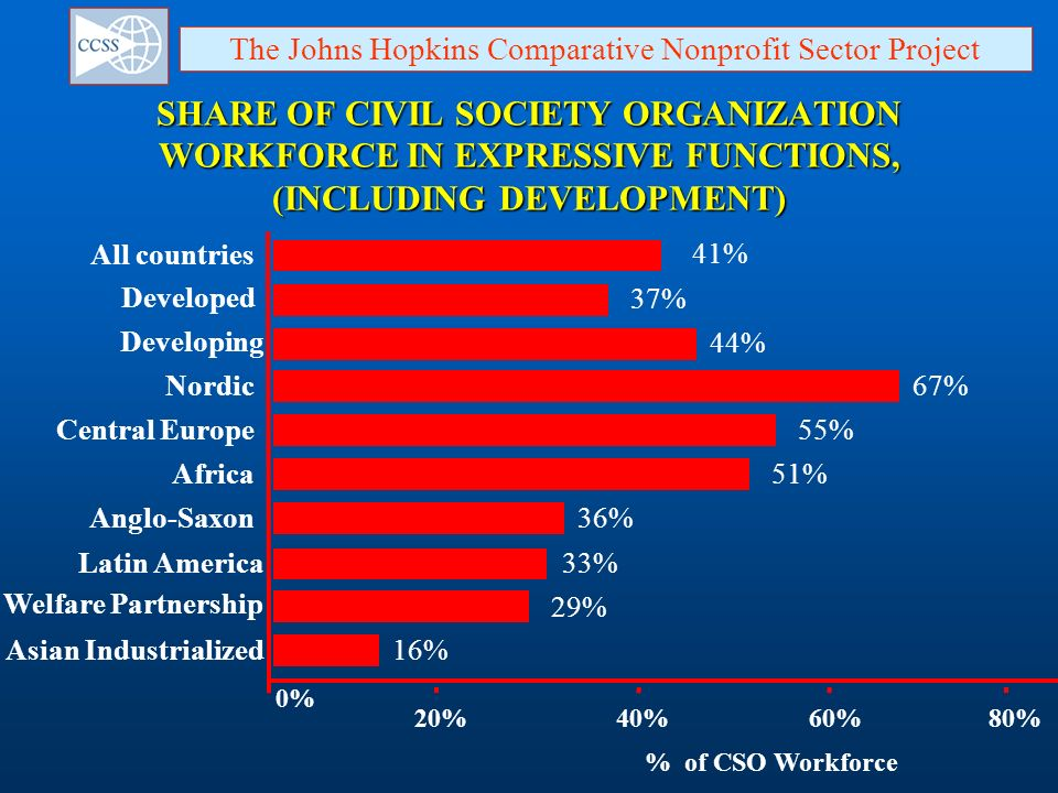 SHARE OF CIVIL SOCIETY ORGANIZATION WORKFORCE IN EXPRESSIVE FUNCTIONS, (INCLUDING DEVELOPMENT) Developed 37% Developing 44% All countries 41% Africa51