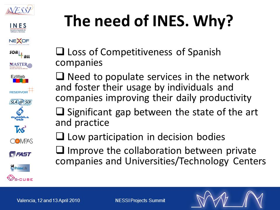 Valencia, 12 and 13 April 2010NESSI Projects Summit Loss of Competitiveness of Spanish companies Need to populate services in the network and foster t
