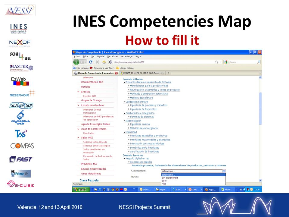 INES Competencies Map How to fill it Valencia, 12 and 13 April 2010NESSI Projects Summit