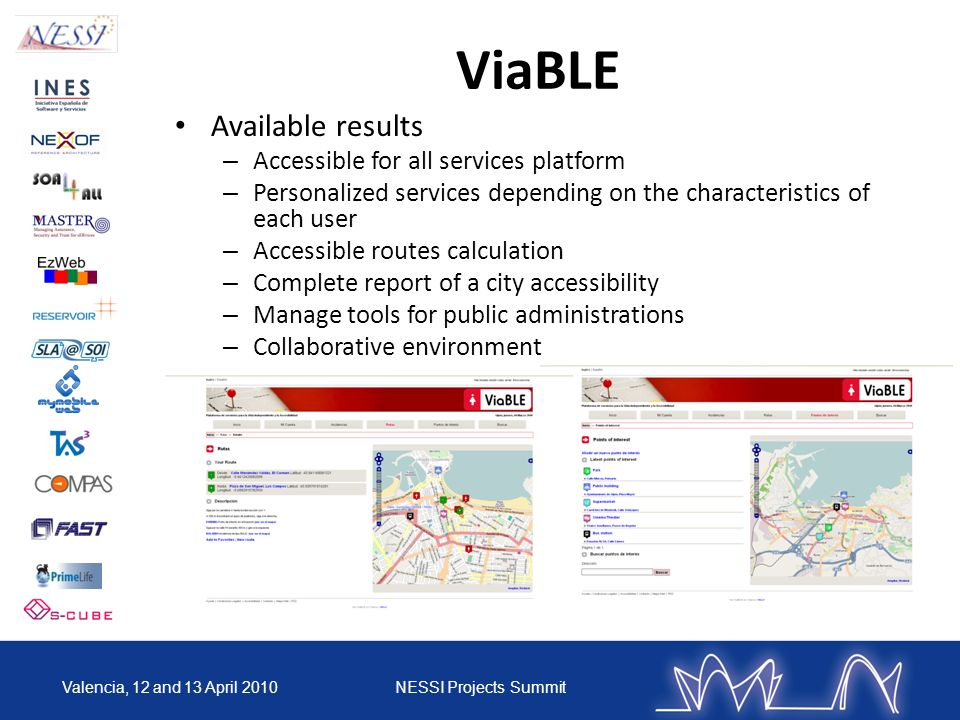 ViaBLE Available results – Accessible for all services platform – Personalized services depending on the characteristics of each user – Accessible rou