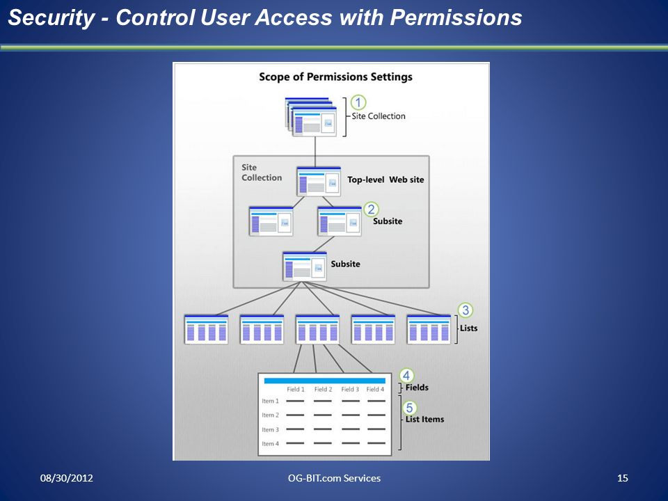 08/30/2012OG-BIT.com Services15 Security - Control User Access with Permissions