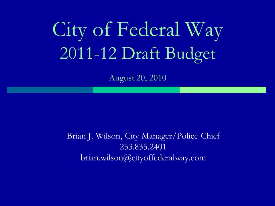 About Federal Way 88,760 in population 3 rd largest city in King County 8 th largest city in Washington 29,200 jobs 22.5 sq miles service area 292 miles of paved streets 1,075 acres in parks and open space 483 building & 2,209 other building relating permits issued 85,633 dispatchable police calls for service 31,500 court cases Data based on 2009, except for population which is current.