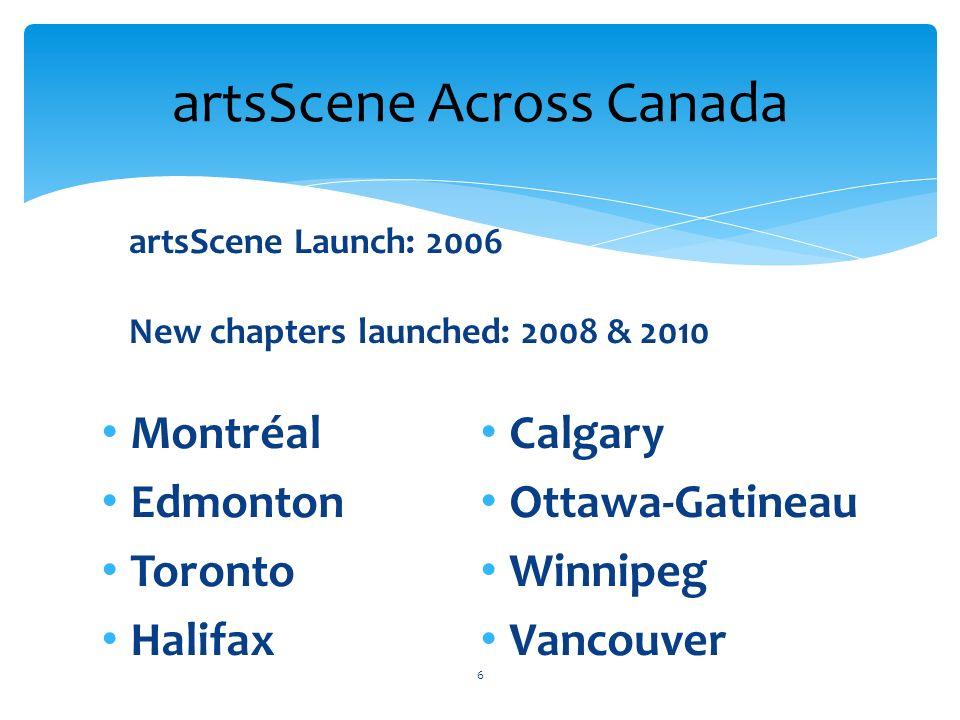 Montréal Edmonton Toronto Halifax Calgary Ottawa-Gatineau Winnipeg Vancouver artsScene Across Canada 6 artsScene Launch: 2006 New chapters launched: 2008 & 2010