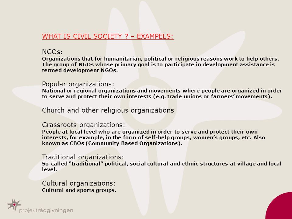 WHAT IS CIVIL SOCIETY ? – EXAMPELS: NGOs : Organizations that for humanitarian, political or religious reasons work to help others. The group of NGOs