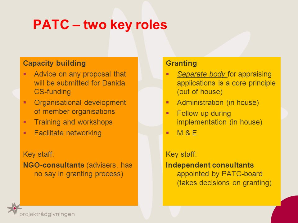 PATC – two key roles Capacity building Advice on any proposal that will be submitted for Danida CS-funding Organisational development of member organi