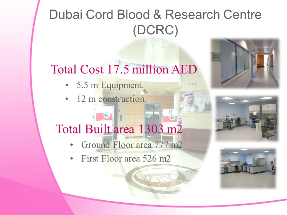 Dubai Cord Blood & Research Centre (DCRC) Total Cost 17.5 million AED 5.5 m Equipment.