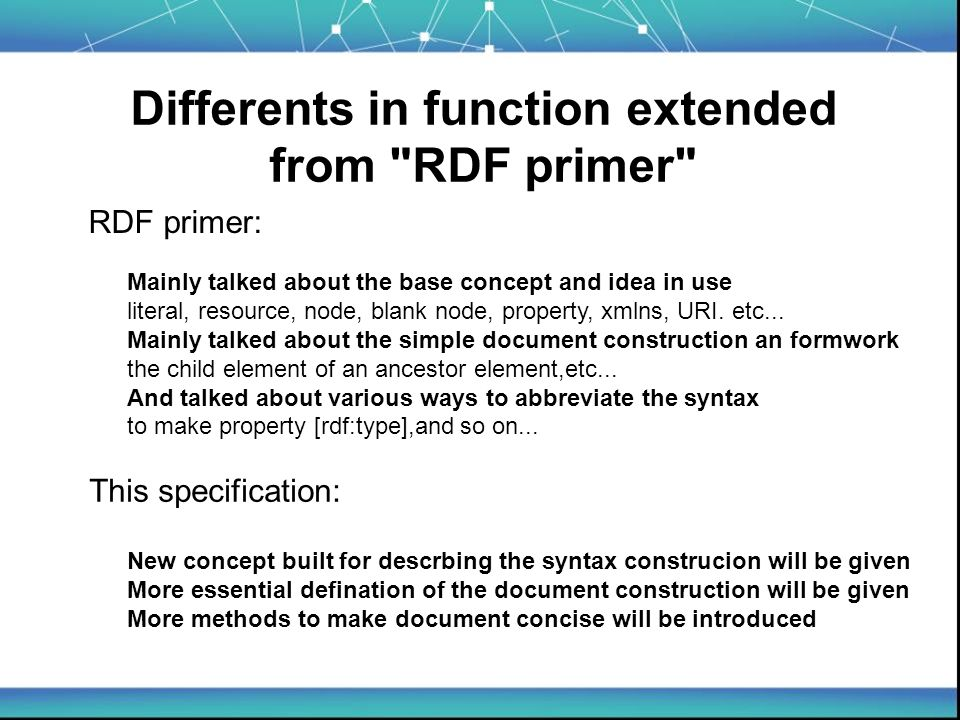 The essential of the RDF construction given 1-fundational thought route : 2-method to abbreviate: Any complete RDF graph is made up by several route .