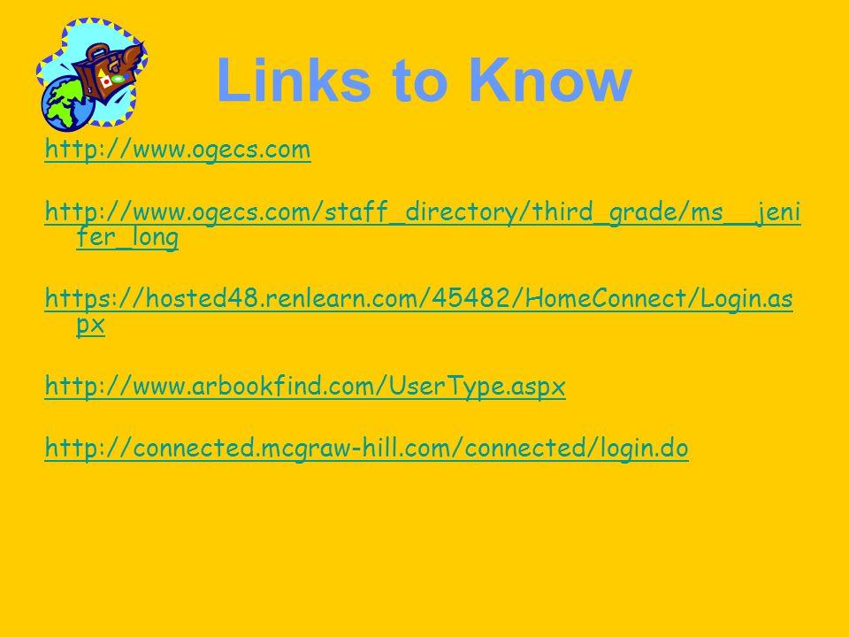 Links to Know http://www.ogecs.com http://www.ogecs.com/staff_directory/third_grade/ms__jeni fer_long https://hosted48.renlearn.com/45482/HomeConnect/