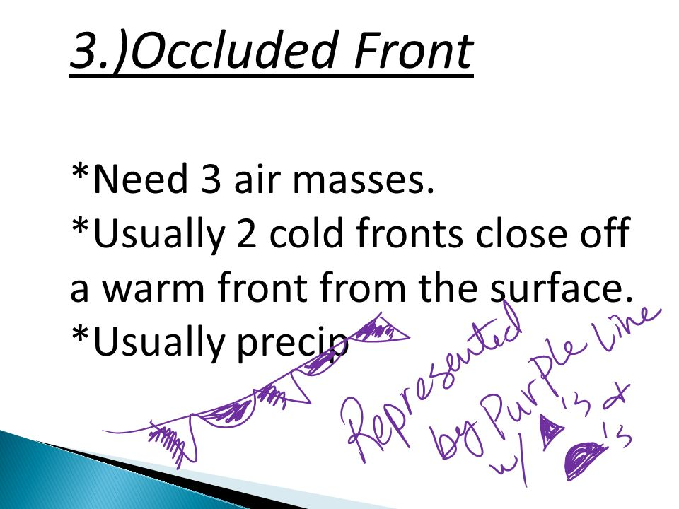 2.)Warm Front: Form when lighter, warmer air advances over heavier, colder air.