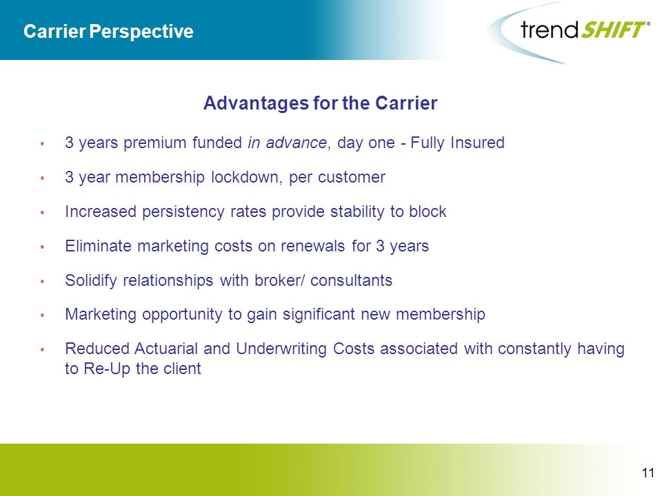 11 Carrier Perspective Advantages for the Carrier 3 years premium funded in advance, day one - Fully Insured 3 year membership lockdown, per customer