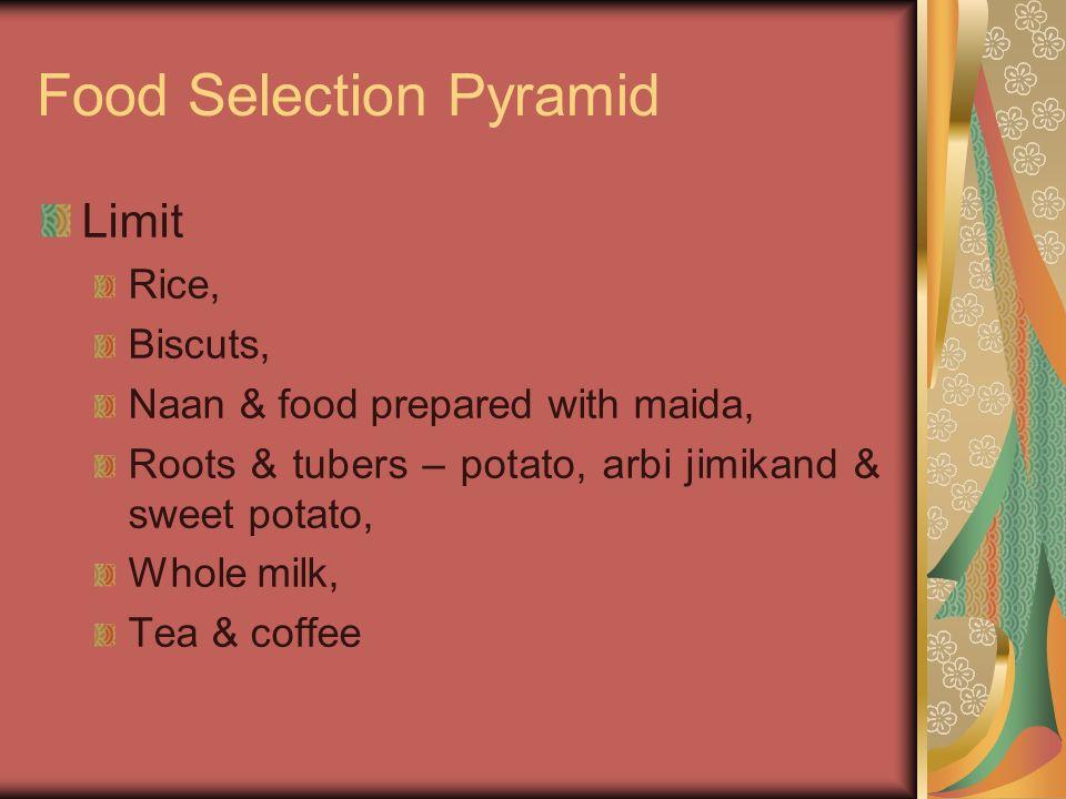 Food Selection Pyramid Limit Rice, Biscuts, Naan & food prepared with maida, Roots & tubers – potato, arbi jimikand & sweet potato, Whole milk, Tea &