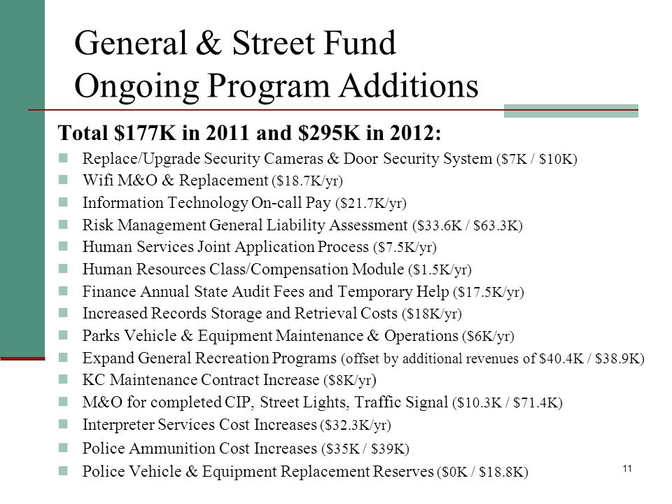 11 General & Street Fund Ongoing Program Additions Total $177K in 2011 and $295K in 2012: Replace/Upgrade Security Cameras & Door Security System ($7K