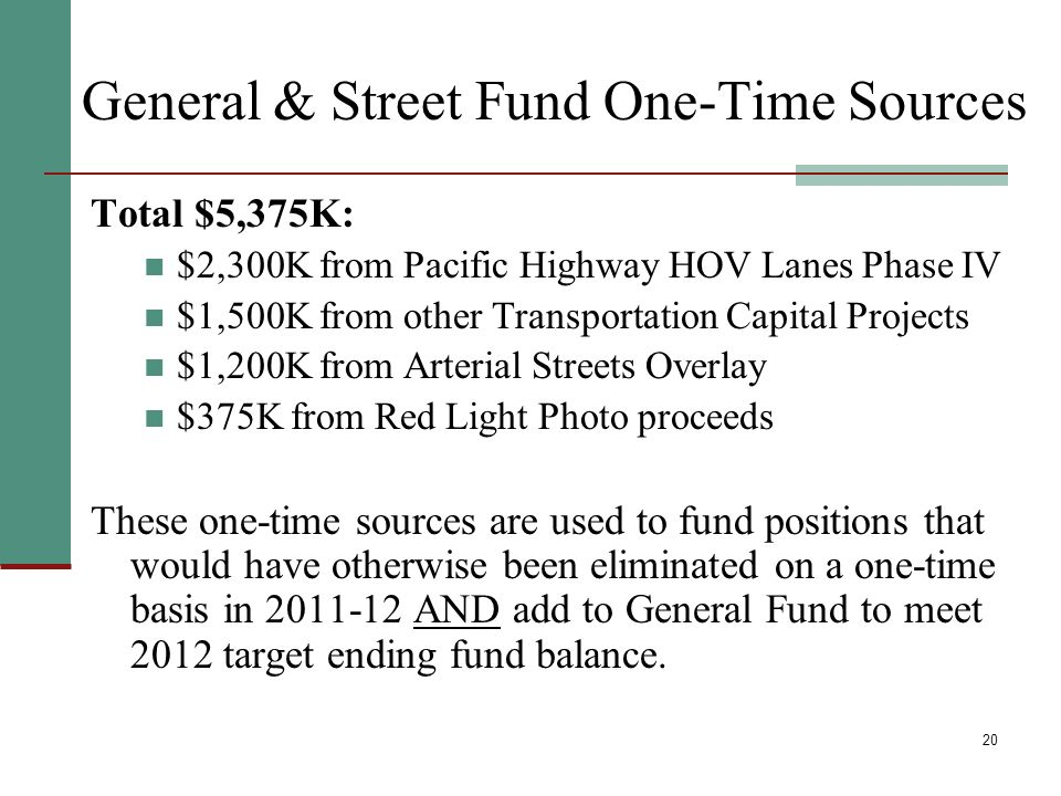 20 General & Street Fund One-Time Sources Total $5,375K: $2,300K from Pacific Highway HOV Lanes Phase IV $1,500K from other Transportation Capital Projects $1,200K from Arterial Streets Overlay $375K from Red Light Photo proceeds These one-time sources are used to fund positions that would have otherwise been eliminated on a one-time basis in 2011-12 AND add to General Fund to meet 2012 target ending fund balance.