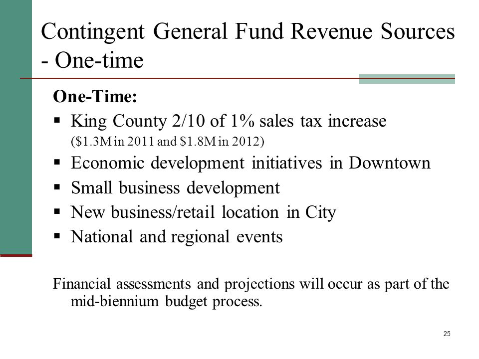 25 Contingent General Fund Revenue Sources - One-time One-Time: King County 2/10 of 1% sales tax increase ($1.3M in 2011 and $1.8M in 2012) Economic d