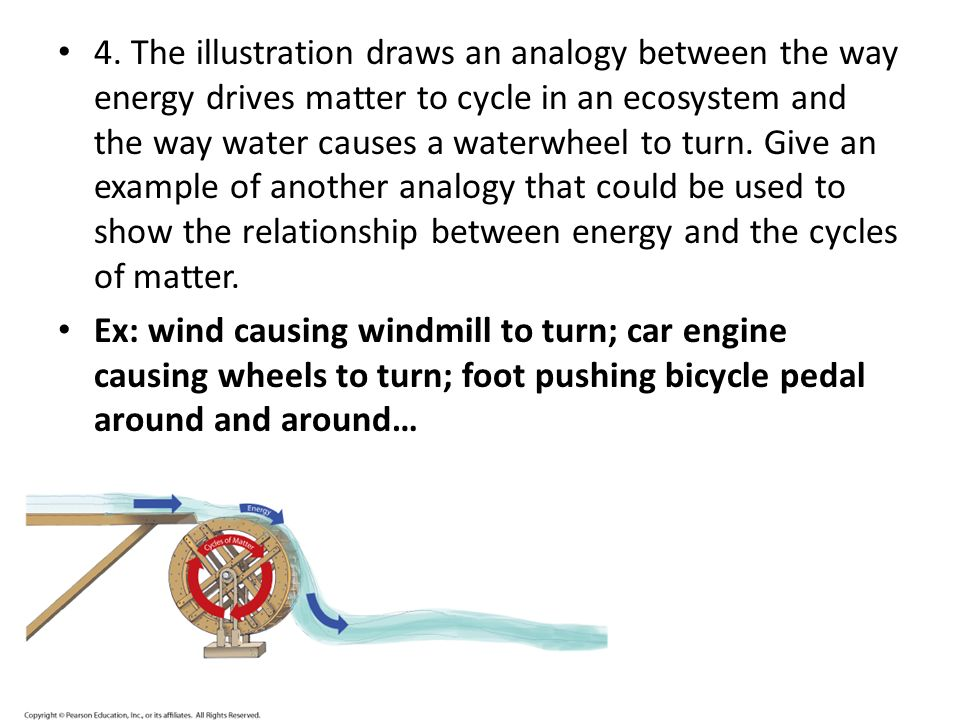 4. The illustration draws an analogy between the way energy drives matter to cycle in an ecosystem and the way water causes a waterwheel to turn. Give