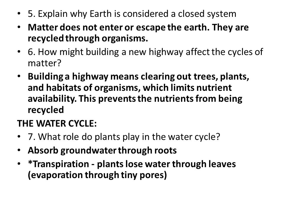 Worksheets Cycles Of Matter Worksheet 3 4 workbook review vocab key questions at top of wkbk what explain why earth is considered a closed system matter does not enter or escape