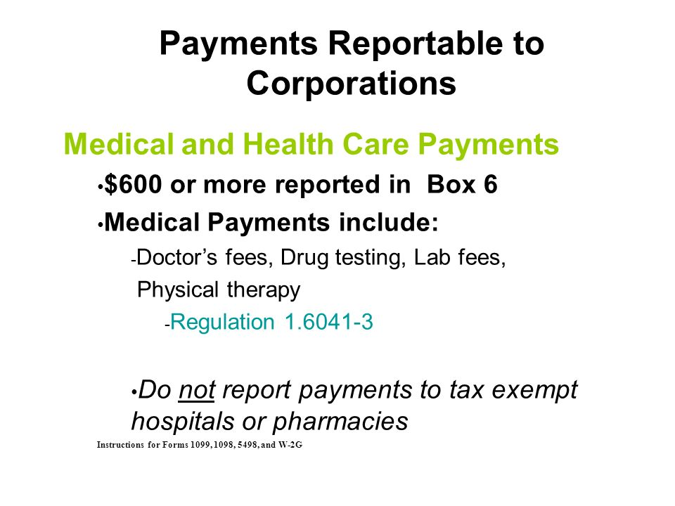 General Exemptions to Filing Form 1099-MISC Payments for products only Wages/Fringe Benefits paid to Employees Payments to organizations exempt from t