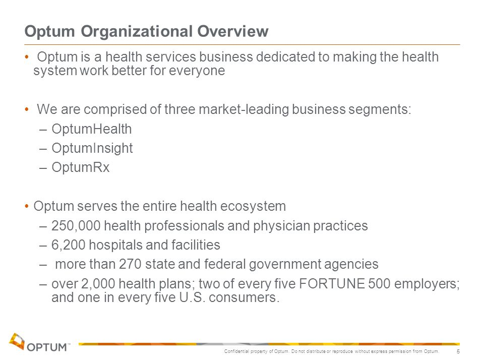 Confidential property of Optum. Do not distribute or reproduce without express permission from Optum. 5 Optum Organizational Overview Optum is a healt