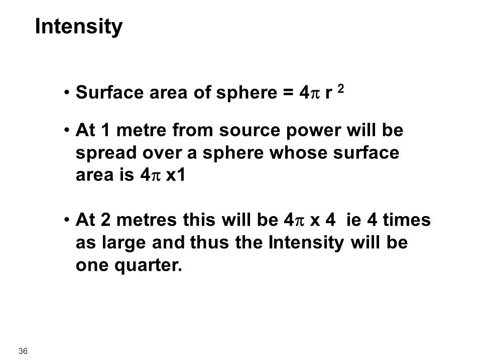 36. Surface area of sphere = 4 r 2 At 1 metre from source power will be spread over a sphere whose surface area is 4 x1 At 2 metres this will be 4 x 4