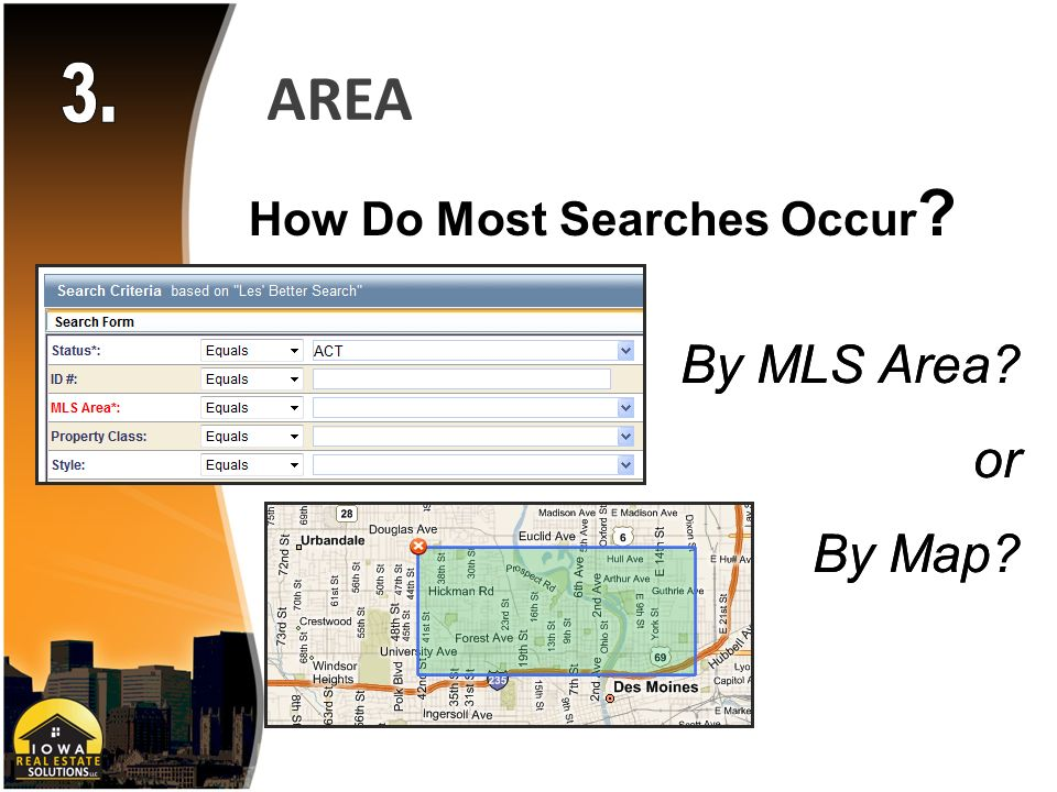 AREA How Do Most Searches Occur By MLS Area or By Map By MLS Area or By Map