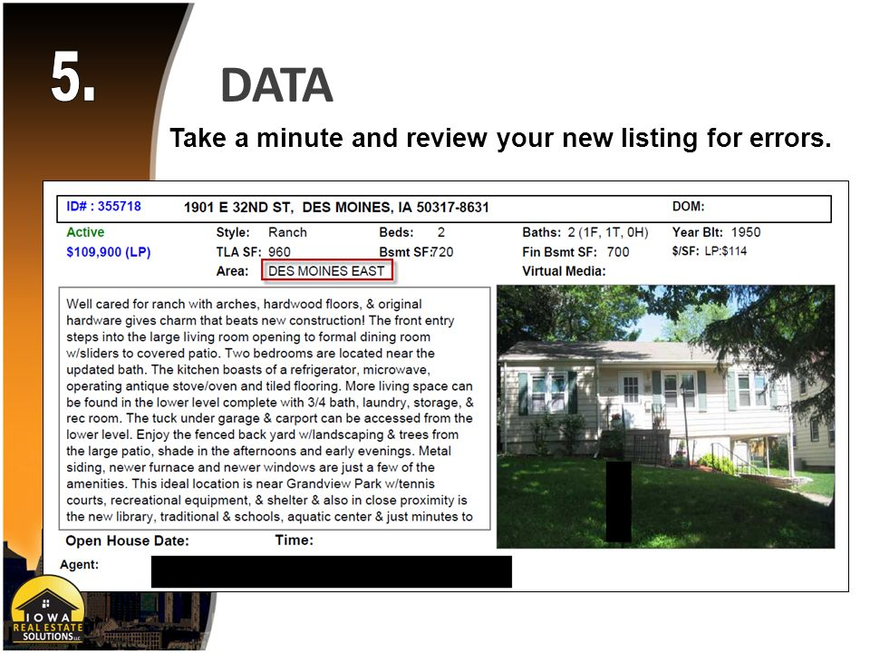 DATA Take a minute and review your new listing for errors.