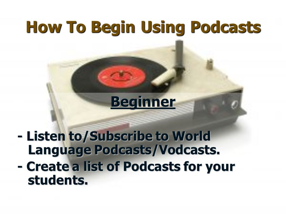 How To Begin Using Podcasts Beginner - Listen to/Subscribe to World Language Podcasts/Vodcasts.