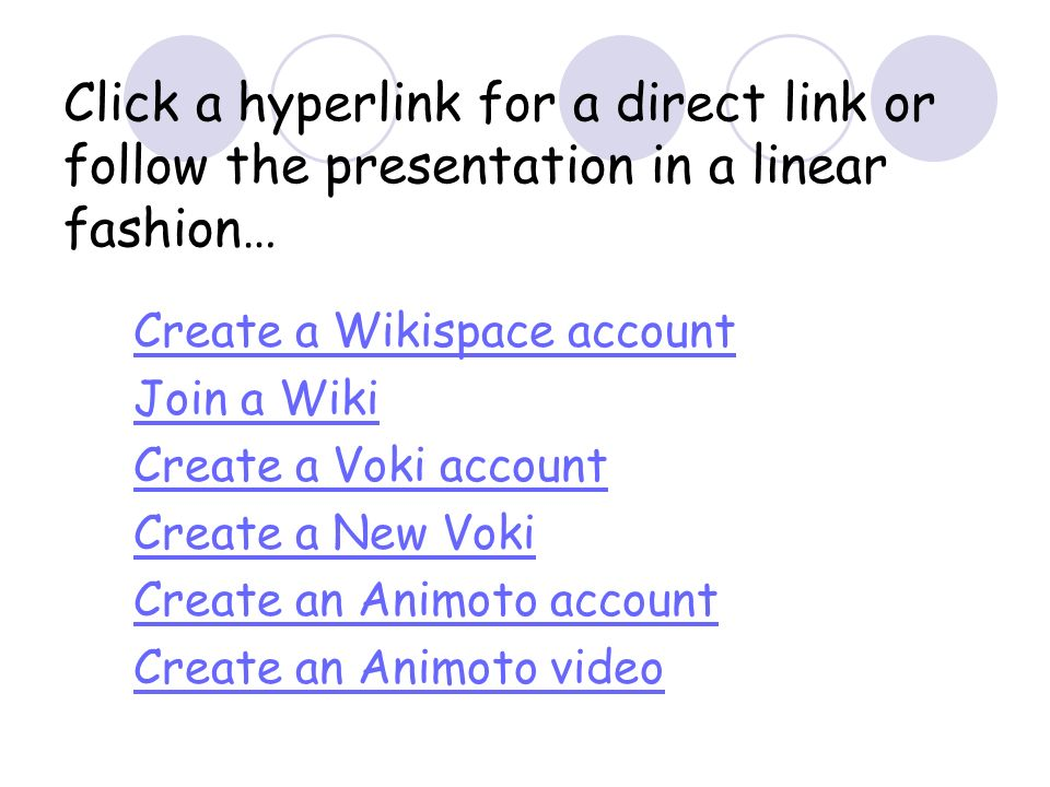 Click a hyperlink for a direct link or follow the presentation in a linear fashion… Create a Wikispace account Join a Wiki Create a Voki account Creat