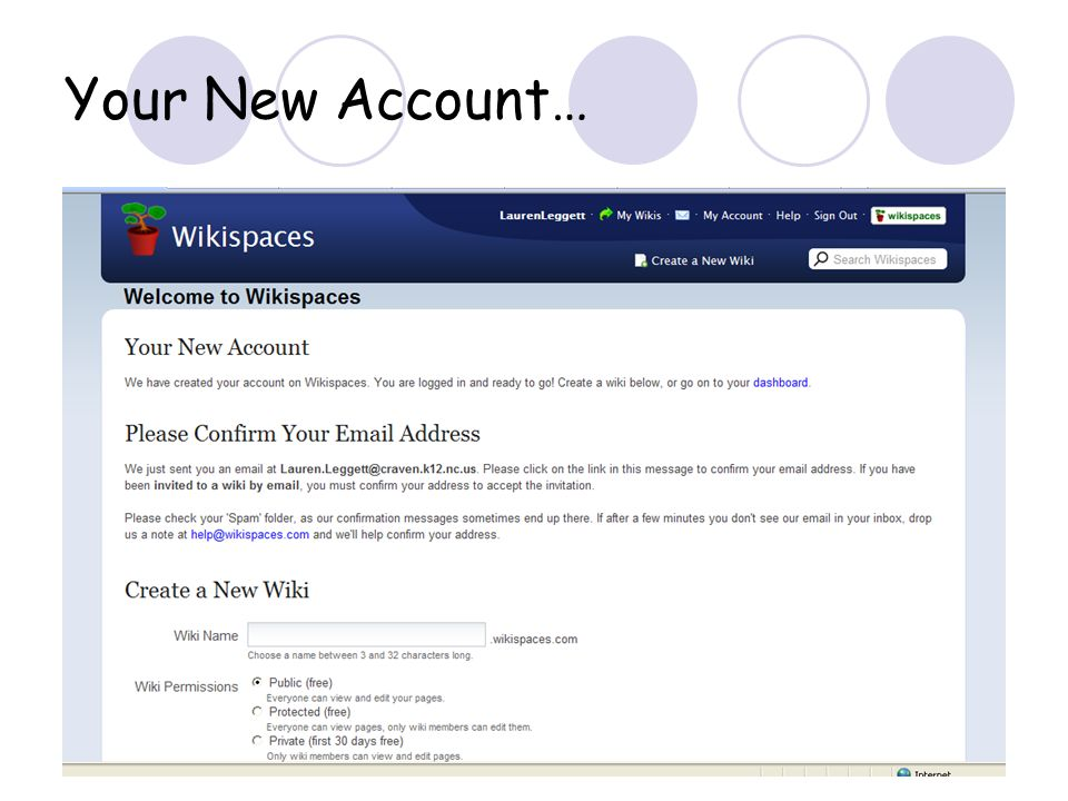 Your New Account…