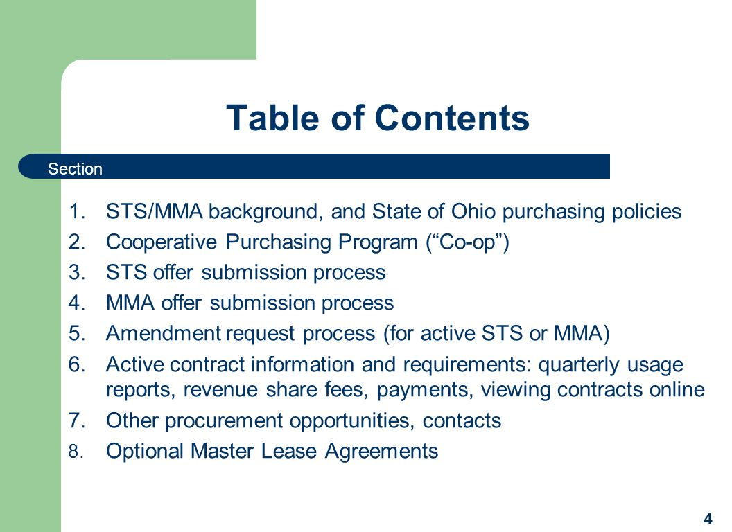 Table of Contents 1.STS/MMA background, and State of Ohio purchasing policies 2.Cooperative Purchasing Program (Co-op) 3.STS offer submission process