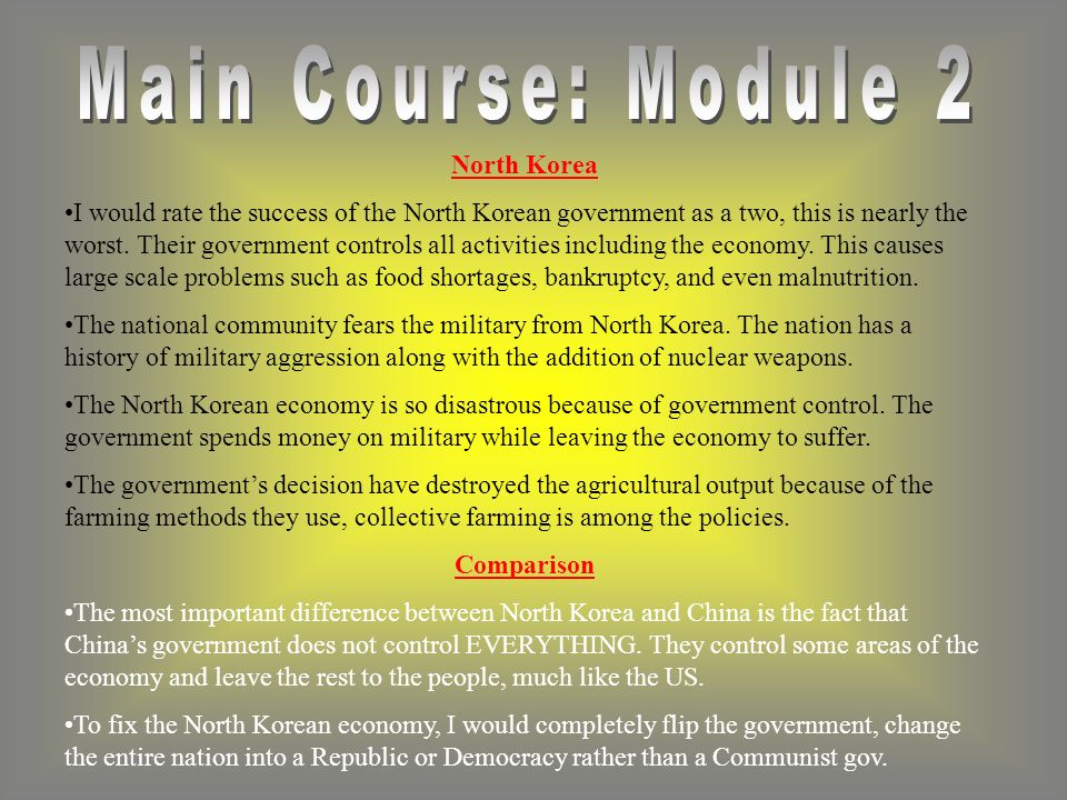 North Korea I would rate the success of the North Korean government as a two, this is nearly the worst.