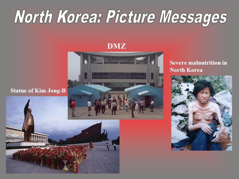 Statue of Kim Jong-Il Severe malnutrition in North Korea DMZ