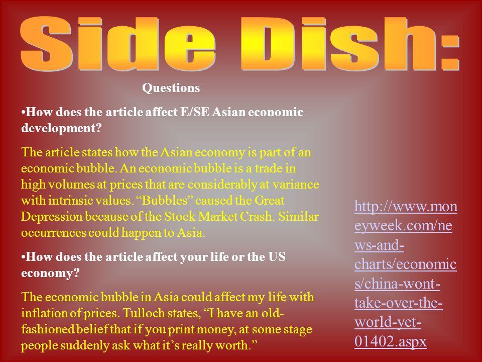 Questions How does the article affect E/SE Asian economic development.