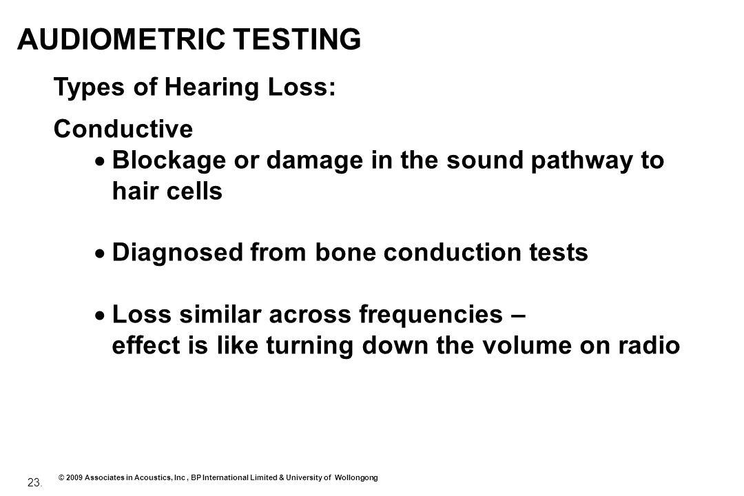 23. © 2009 Associates in Acoustics, Inc, BP International Limited & University of Wollongong AUDIOMETRIC TESTING Types of Hearing Loss: Conductive Blo