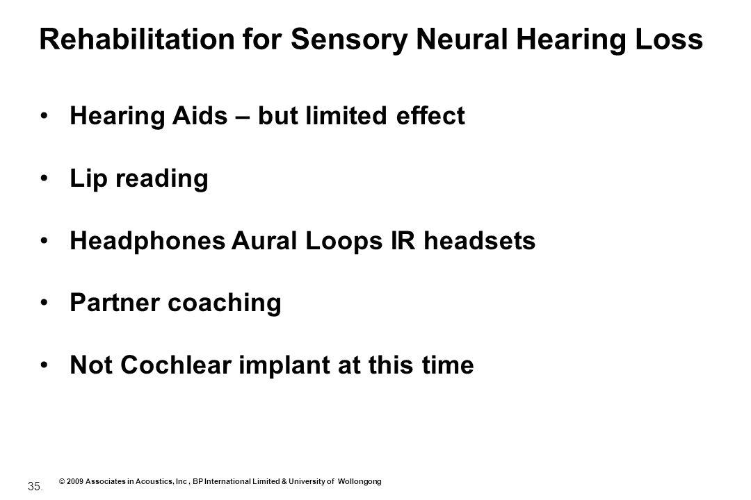 35. © 2009 Associates in Acoustics, Inc, BP International Limited & University of Wollongong Rehabilitation for Sensory Neural Hearing Loss Hearing Ai