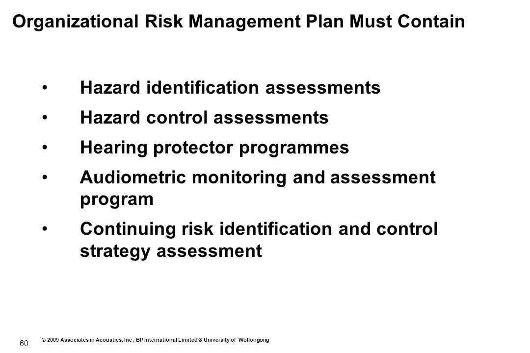 60. © 2009 Associates in Acoustics, Inc, BP International Limited & University of Wollongong Organizational Risk Management Plan Must Contain Hazard i