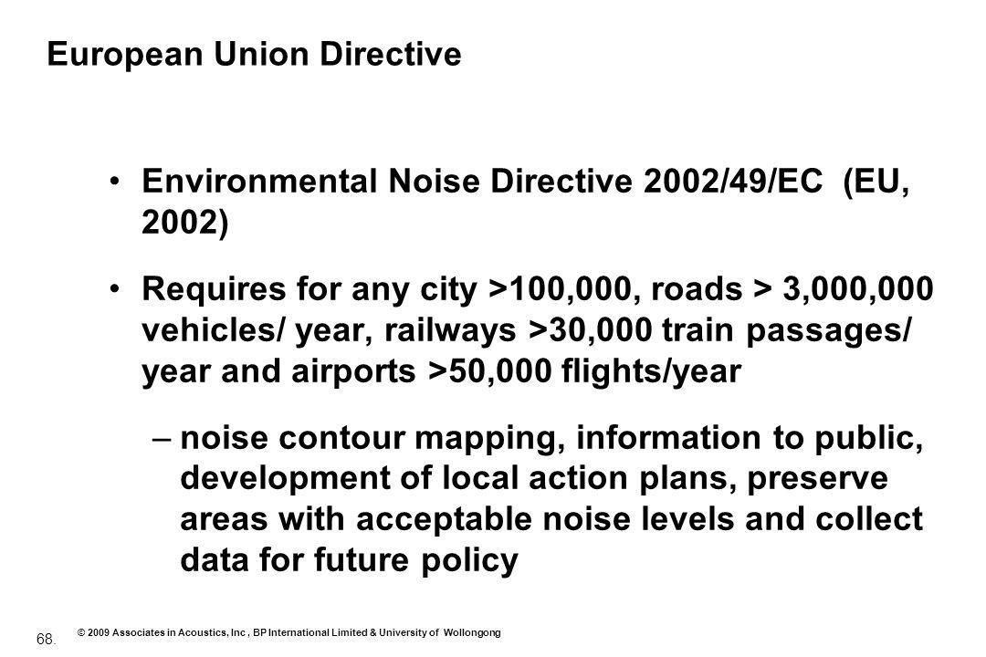 68. © 2009 Associates in Acoustics, Inc, BP International Limited & University of Wollongong European Union Directive Environmental Noise Directive 20
