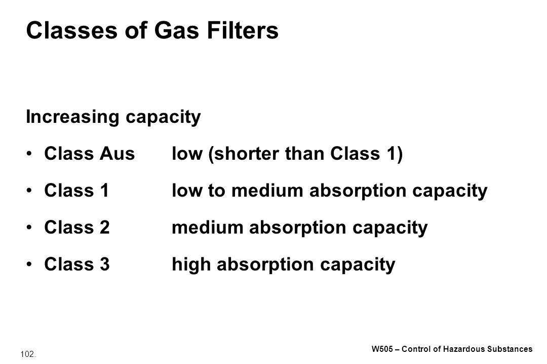 102. W505 – Control of Hazardous Substances Classes of Gas Filters Increasing capacity Class Auslow (shorter than Class 1) Class 1low to medium absorp