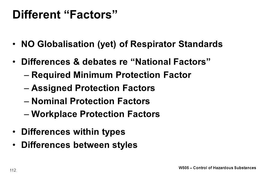 112. W505 – Control of Hazardous Substances Different Factors NO Globalisation (yet) of Respirator Standards Differences & debates re National Factors