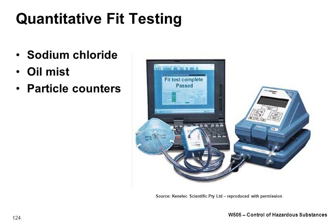 124. W505 – Control of Hazardous Substances Quantitative Fit Testing Sodium chloride Oil mist Particle counters Source: Kenelec Scientific Pty Ltd – r