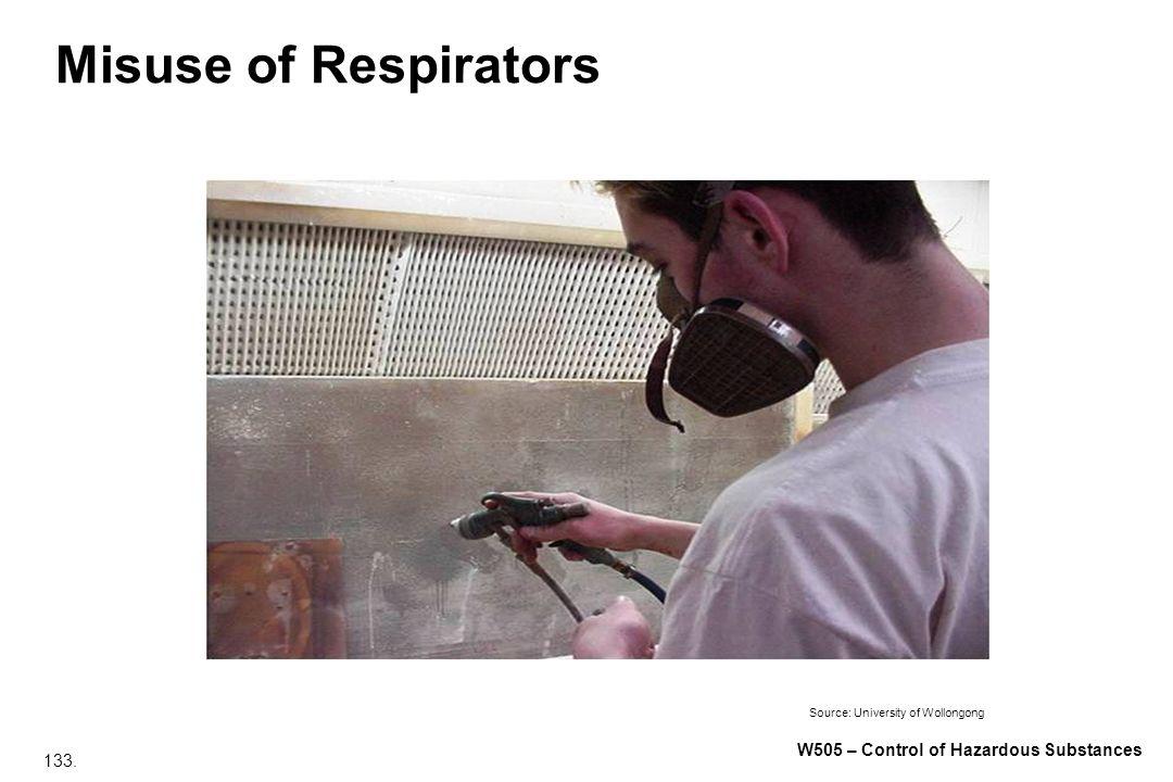 133. W505 – Control of Hazardous Substances Misuse of Respirators Source: University of Wollongong