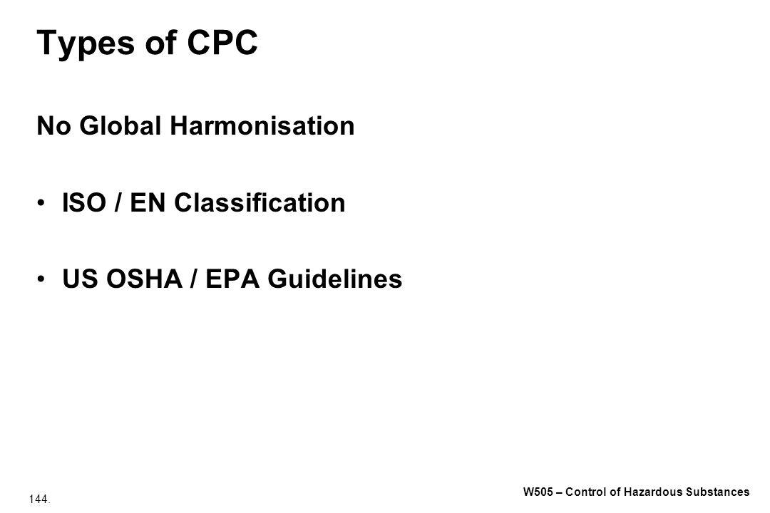 144. W505 – Control of Hazardous Substances Types of CPC No Global Harmonisation ISO / EN Classification US OSHA / EPA Guidelines
