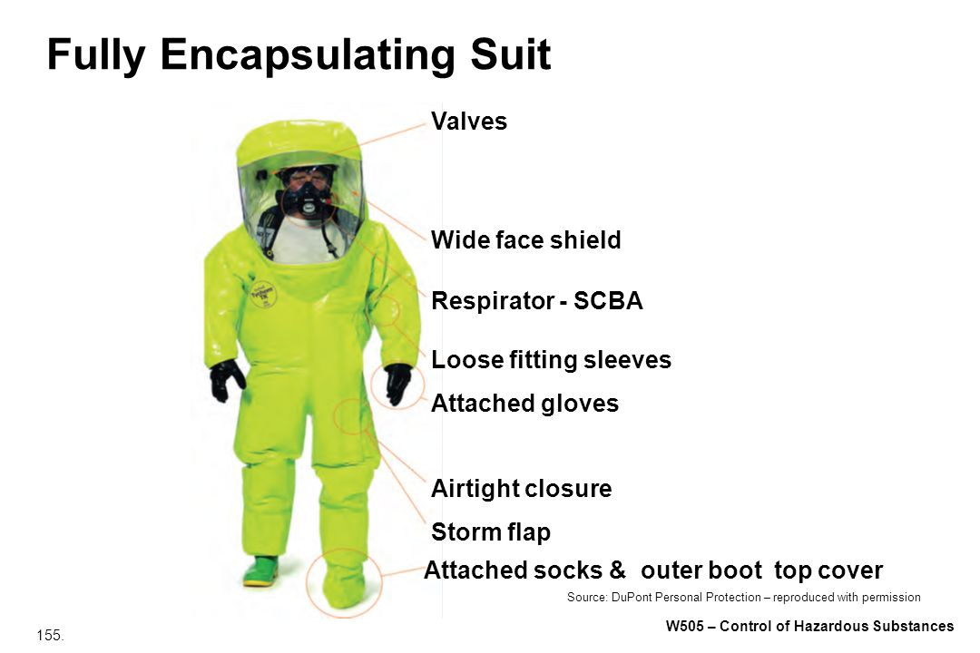 155. W505 – Control of Hazardous Substances Fully Encapsulating Suit Valves Wide face shield Respirator - SCBA Loose fitting sleeves Attached gloves A