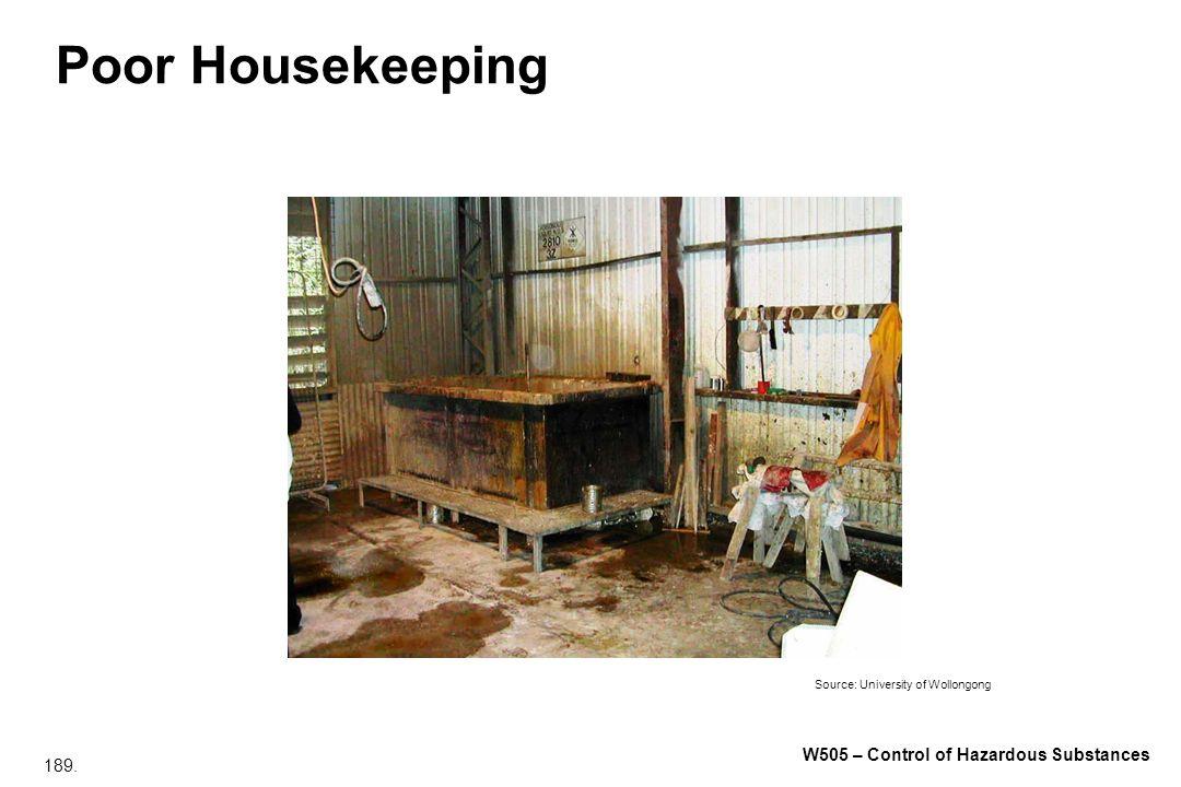 189. W505 – Control of Hazardous Substances Poor Housekeeping Source: University of Wollongong