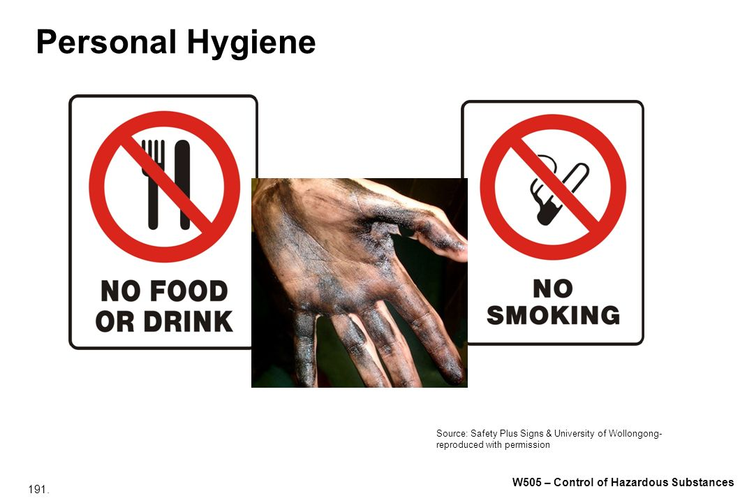 191. W505 – Control of Hazardous Substances Personal Hygiene Source: Safety Plus Signs & University of Wollongong- reproduced with permission