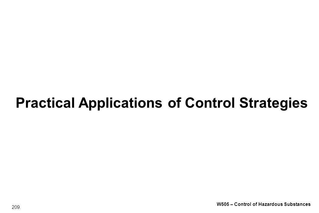 209. W505 – Control of Hazardous Substances Practical Applications of Control Strategies