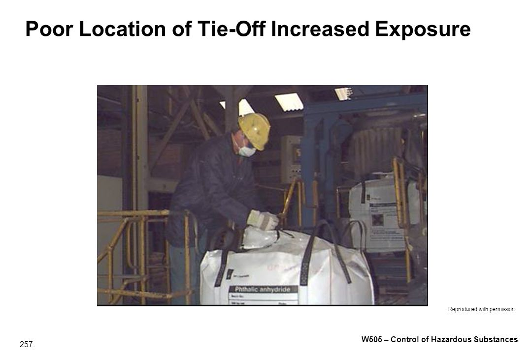 257. W505 – Control of Hazardous Substances Poor Location of Tie-Off Increased Exposure Reproduced with permission