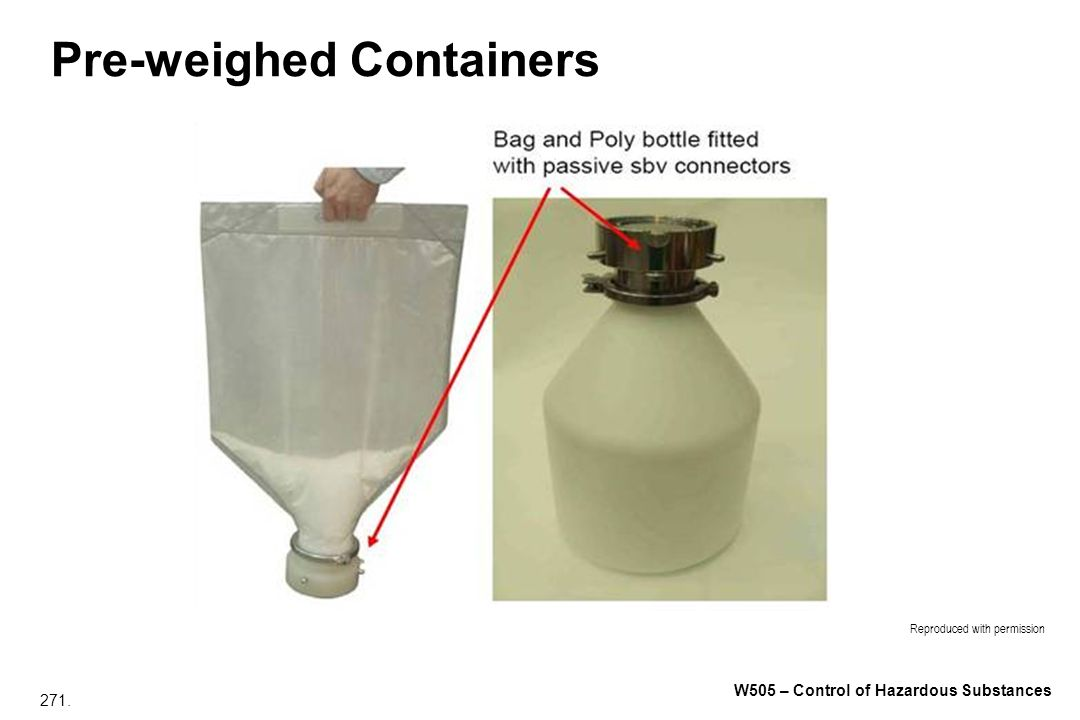 271. W505 – Control of Hazardous Substances Pre-weighed Containers Reproduced with permission